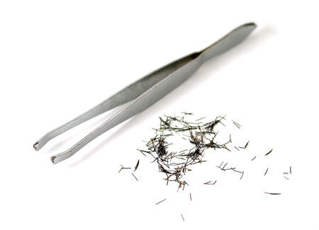 tweezers: tweezers with plenty of cilia or eyebrows Stock Photo