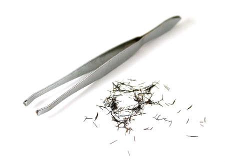 tweezing: tweezers with plenty of cilia or eyebrows Stock Photo
