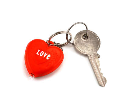 Key with heart key ring with word  photo