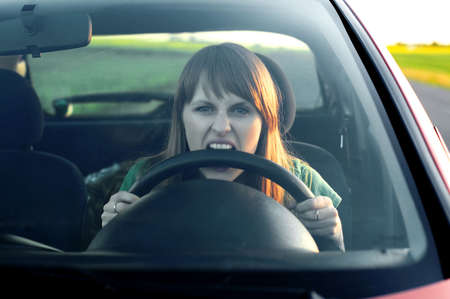 road rage: stress girl in a car