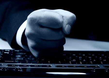 knockdown: fist on keyboard