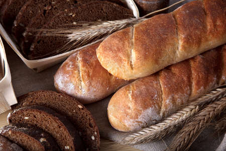 tasty baked bread on table photo