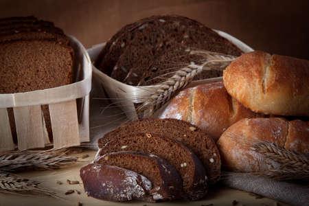 sliced bread on table photo
