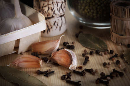 fresh garlic and spices photo