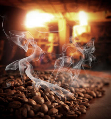 manufactory: Roasted steaming coffee beans