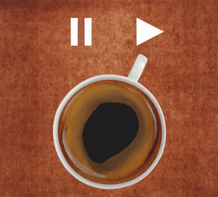 robusta: cup of coffee showing play sign Stock Photo