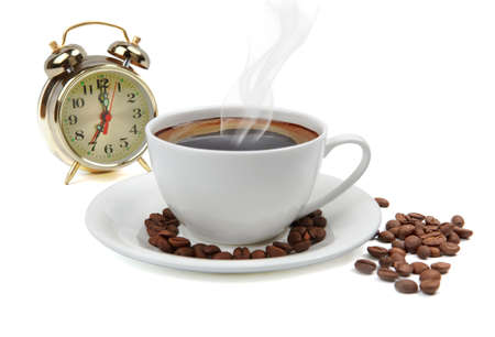 steaming coffee: cup of coffee with beans and alarm clock