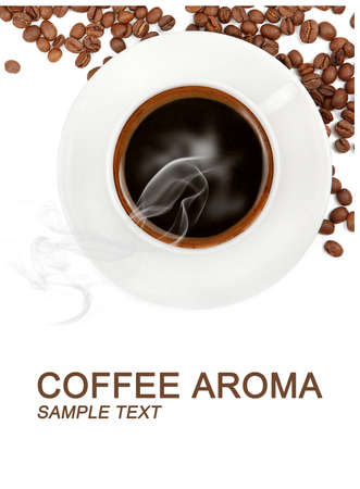 steaming coffee: cup of coffee and beans with copy space