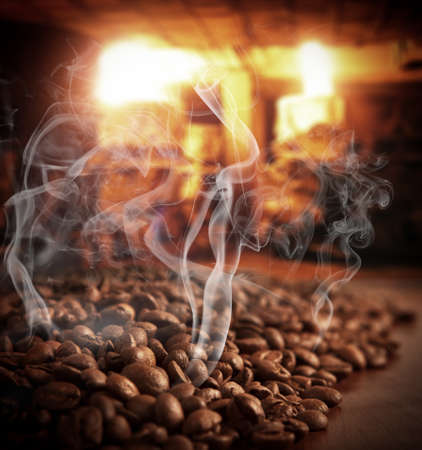 steaming: Roasted steaming coffee beans
