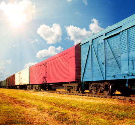 loading cargo: freight train Stock Photo