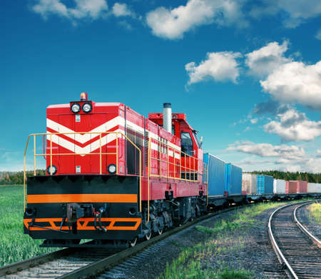 railway transportation: freight train Stock Photo