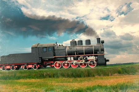 railway engine: steam train