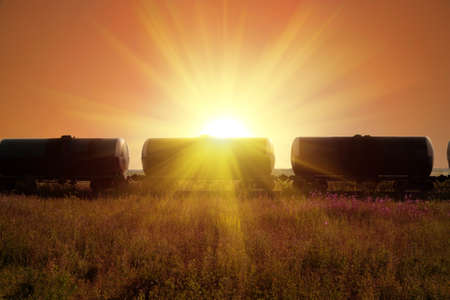 fuel tanks in sun rays photo