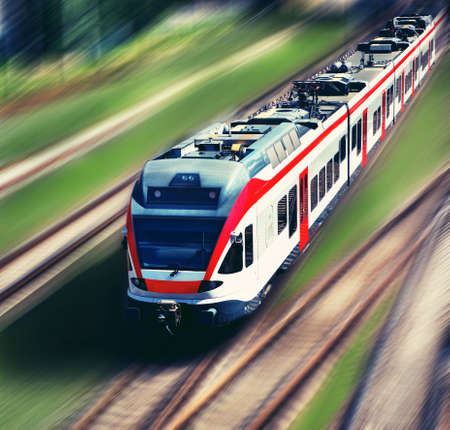 motion blur: high-speed train in motion blur Stock Photo
