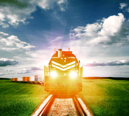 freight train: freight train with headlights