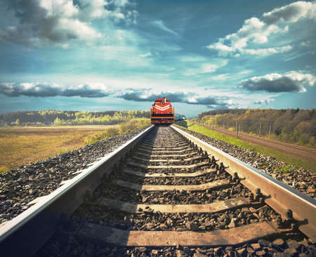 freight train: Railroad with a freight train Stock Photo