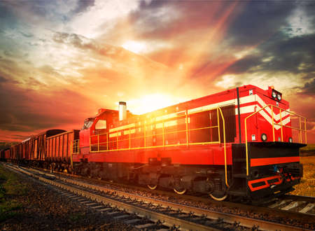 freight train in the morning sunlight