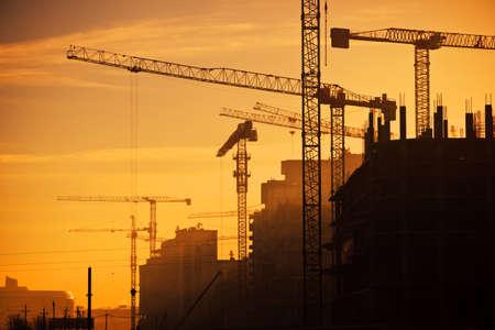 建設用クレーンの都市 写真素材