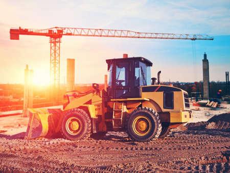 bulldozer op bouwplaats Stockfoto