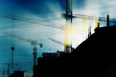 construction site: construction cranes