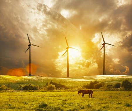 turbina: turbina de viento en la puesta del sol colorida