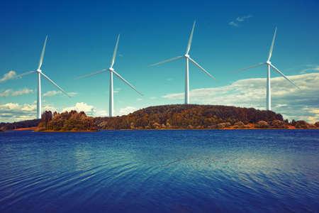 power plant: wind turbines on island