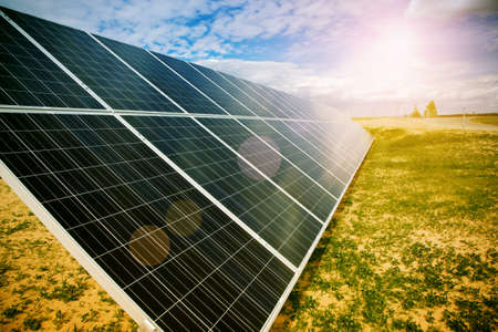 energy fields: Solar energy panels Stock Photo