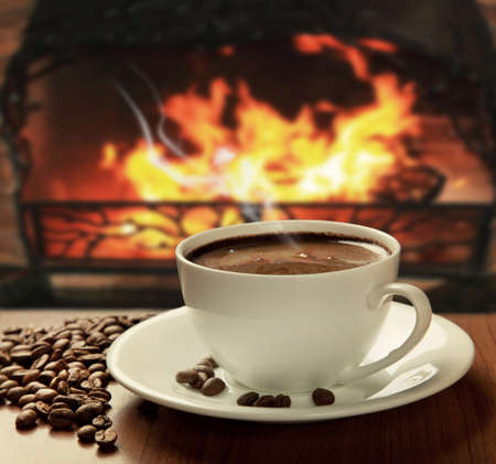 steaming: hot coffee near fireplace