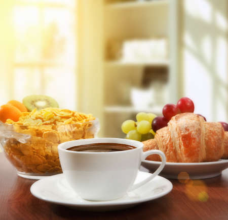 morning breakfast: healthy breakfast with coffee in sunny morning Stock Photo