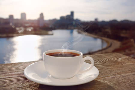 morning breakfast: morning coffee with city view