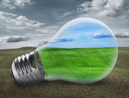 environment: Light bulb with a green field inside. Environment, eco technology and energy concept.