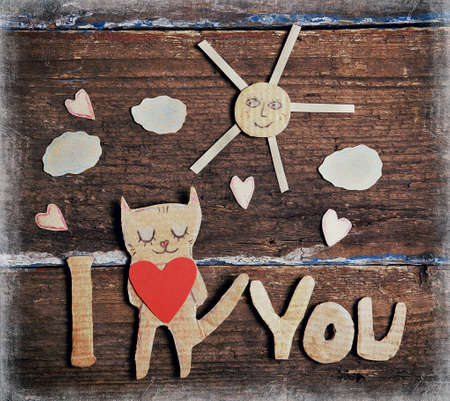 relationships: valentines day card with paper cat in love Stock Photo