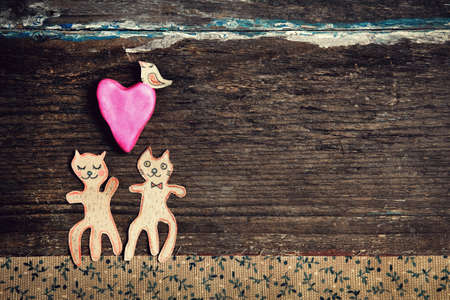 kitty: valentines day card with handmade cats as lovers Stock Photo