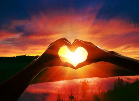 le mani a forma di cuore amore