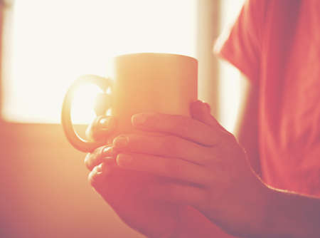 hands holding hot cup of tea or coffee in morning sunlight Imagens