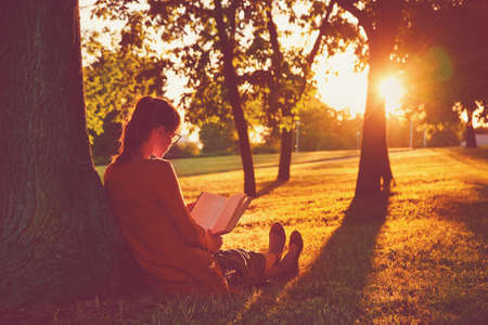 girl reading book at park in summer sunset light Foto de archivo