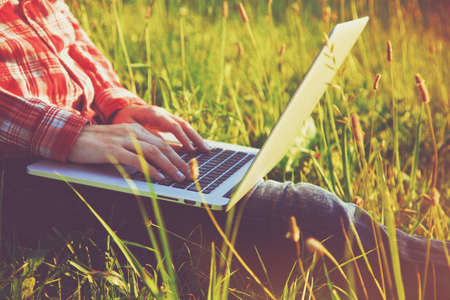 Handen met behulp van laptop en typen in zomer gras Stockfoto