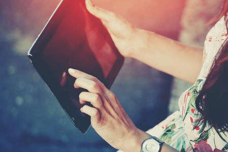 hands holding digital tablet pc Stockfoto