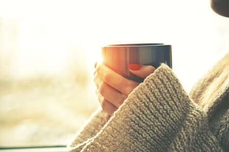 hands holding hot cup of coffee or tea in morning sunlight Archivio Fotografico