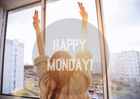 week: Woman facing the sunrise with raising hands. Happy Monday motivational text
