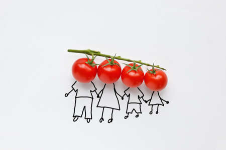 cherry tomatoes with hand drawing shapes of family