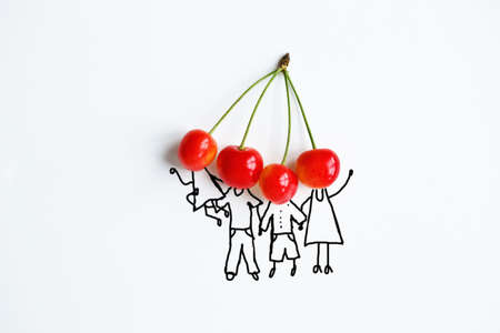 cherry with hand drawing shapes of family