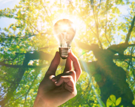 Hand holding light bulb with a sunshine inside. Environment, eco technology and solar energy concept. Stock Photo