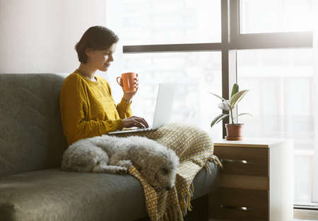 Woman working with laptop at home quarantine. Coffee or tea, dog and warm plaid for comfortable workplace. Stay at home campaign.