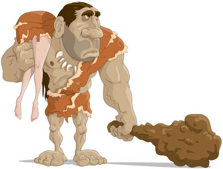 a cudgel: The neanderthal man with the wife