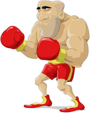 Cartoon the boxer in red gloves  Vector