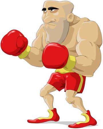 bald men: Cartoon the boxer in red gloves