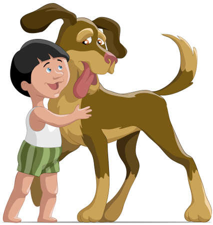 The boy embraces a dog  Vector