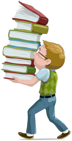 thinking student: The boy with books cartoon illustration