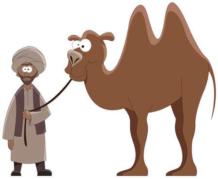Cartoon dirigent met een kameel   Vector Illustratie